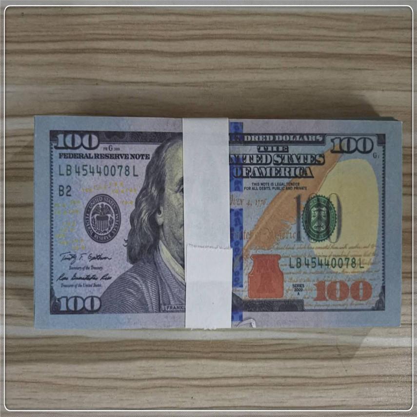Barre de qualité en gros 100 accessoires américains Atmosphère Dollar Papier Party Fast 100-1 Morceaux de devises / accessoires d'emballage Expédition Haute Gagnbe WXGCK
