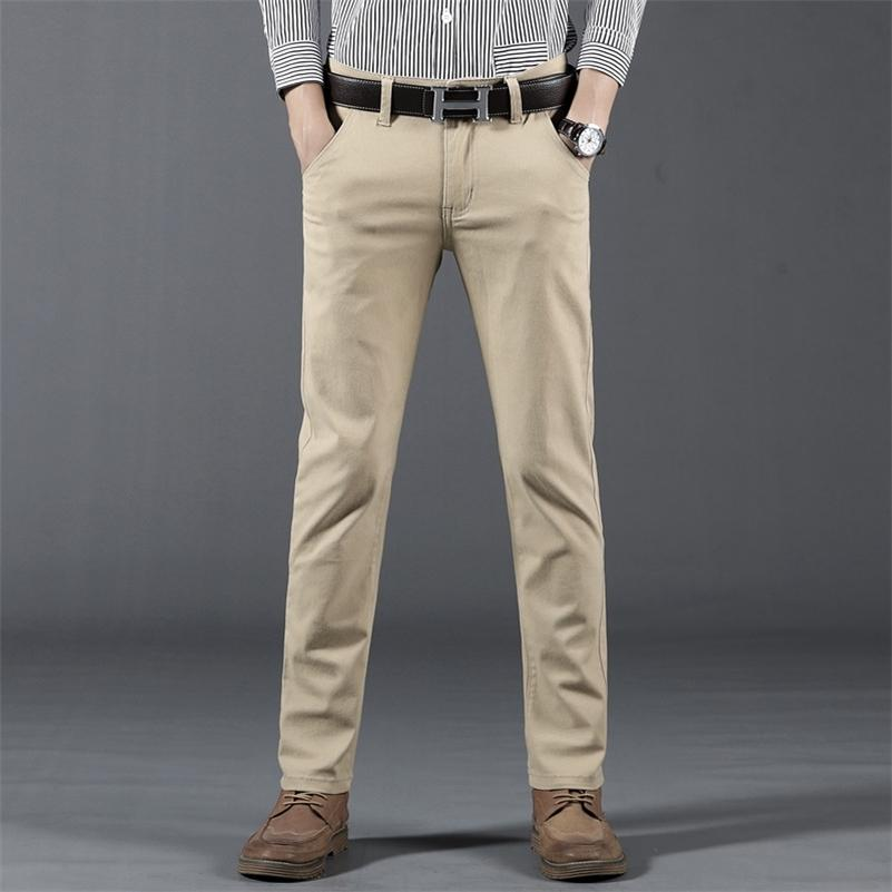 Primavera verano otoño nuevo pantalones casuales hombres algodón slim fit chinos moda pantalón masculino marca ropa más tamaño 28-38,968 201109