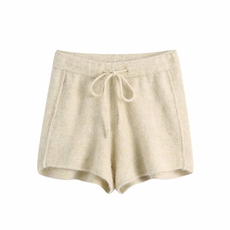 2021 Новые элегантные женщины мягкие трикотажные шорты мода дамы твердые бежевые уличные женские шикарные, уполномоченные короткие причинно-следственные девочка UE5E