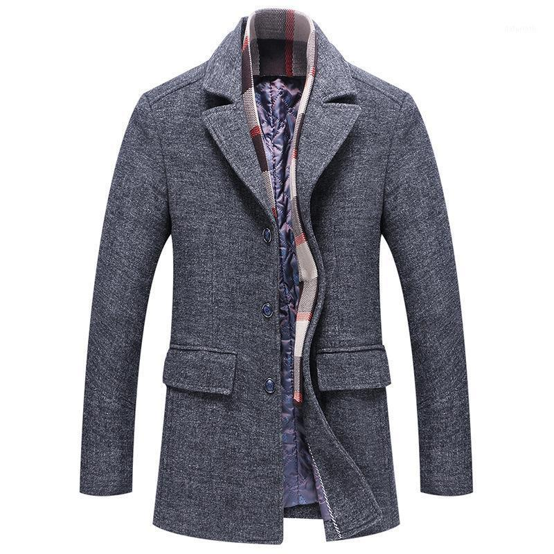 2021 Мужская шерстяная шерстяная ткань толщиной кашемировый модный отворот шарф воротник куртка средней длины шерстяной веткой куртка мужчины парусник