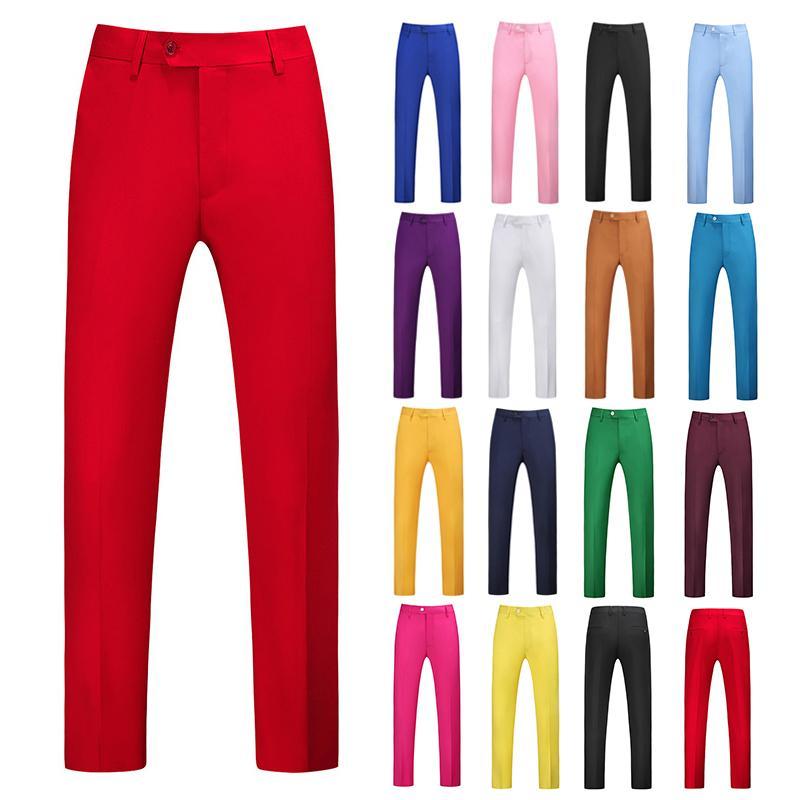 Yasuguoji Mens Color Pure Ocupación Ocupación Slim Fit Dress Office Pantalones para hombre Vestido Formal Traje Pantalones Casual para Hombres Y201026