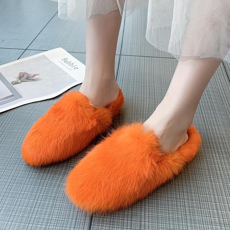 Квартиры женские зимние меховые тапочки туфли снега женский тапочка крытый домашний обувь повседневная дама комфорт женщины квартиры скользиты