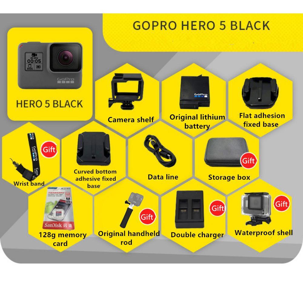 GOPRO HERO كاميرا 5 العمل الأسود كاميرا الرياضة في الهواء الطلق مع 4K فائقة HD فيديو GOPRO 5