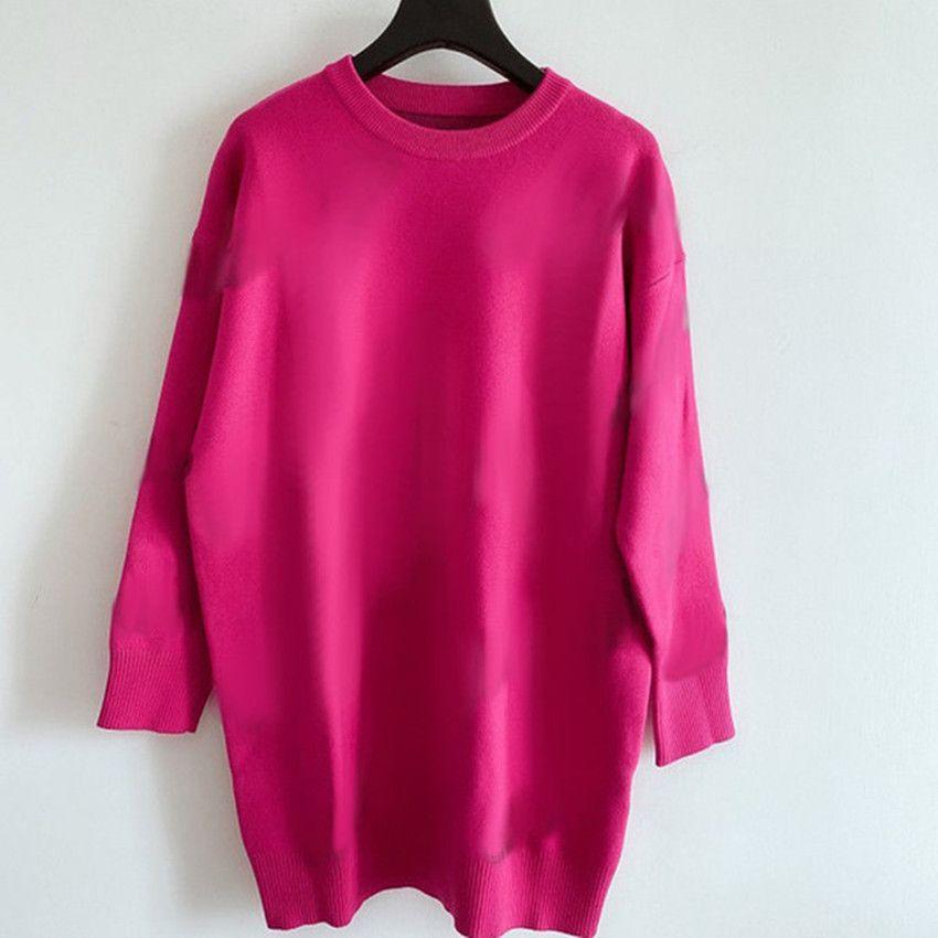2021 kadın Kazak Rahat Örgü Elbise Kontrast Renk Uzun Kollu Sonbahar Moda Klasik Mektup Desenli Bayan Giyim Knitwear Bayanlar Kazak