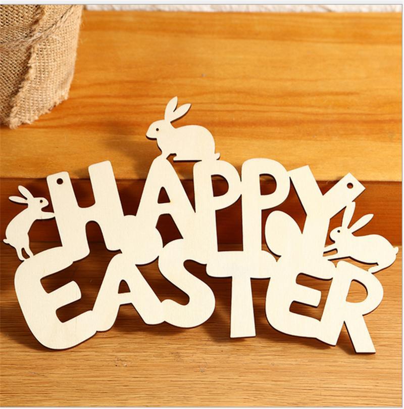 Счастливой Пасхи буквы кролика подвески деревянные ремесла орнамент дерева DIY висит подвески зайчик пасхальные украшения домашней вечеринки E122504