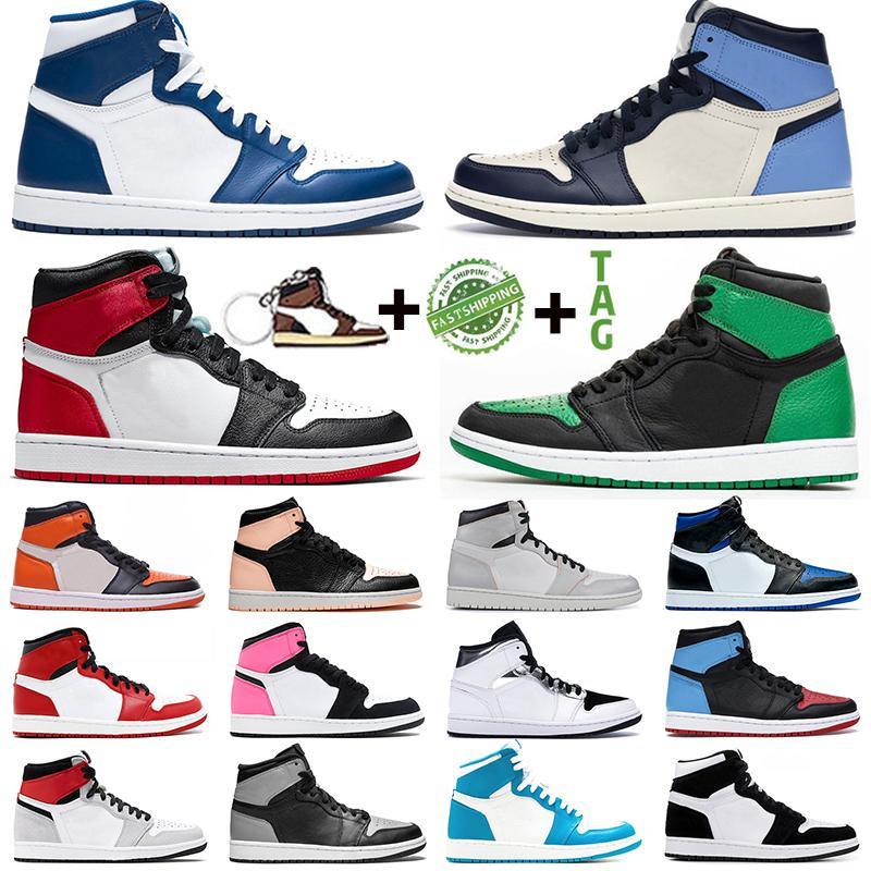 Nike Air Jordan Retro 1 Chaussures de basket-ball pour hommes 1s 1 2021 Chaussures de sport pour femmes de mode Chicago Obsidian Banned Shadow Bred Outdoor Sneakers