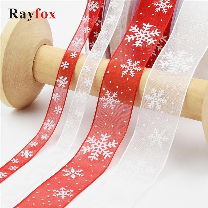 5 yards 1 cm / 2,5 cm Weihnachtsdekoration für Zuhause Weiß, Rot Schneeflocke DIY Ornamente Weihnachtsgeschenk Geschenk Party Bibbons Decor Kind Geschenk1