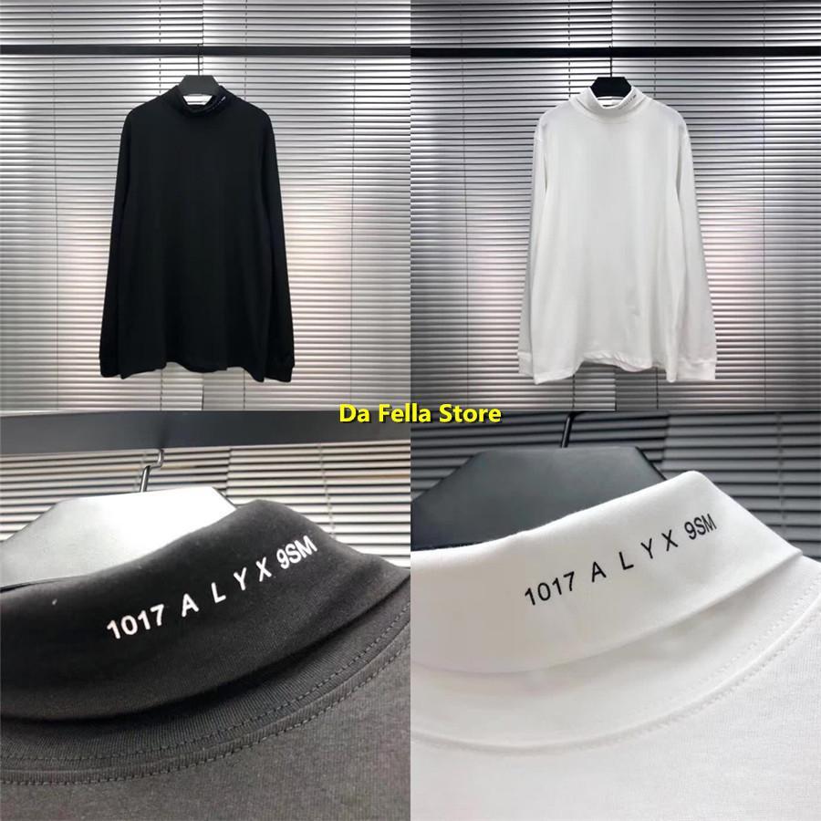 1017 ALYX 9SM Rulo Balıkçı Yaka T-Shirt Siyah Beyaz Erkek Kadın 1: 1 Yüksek Kalite Boyun Çizgisi Baskı Alys Tee Uzun Kollu T-shirt X1214