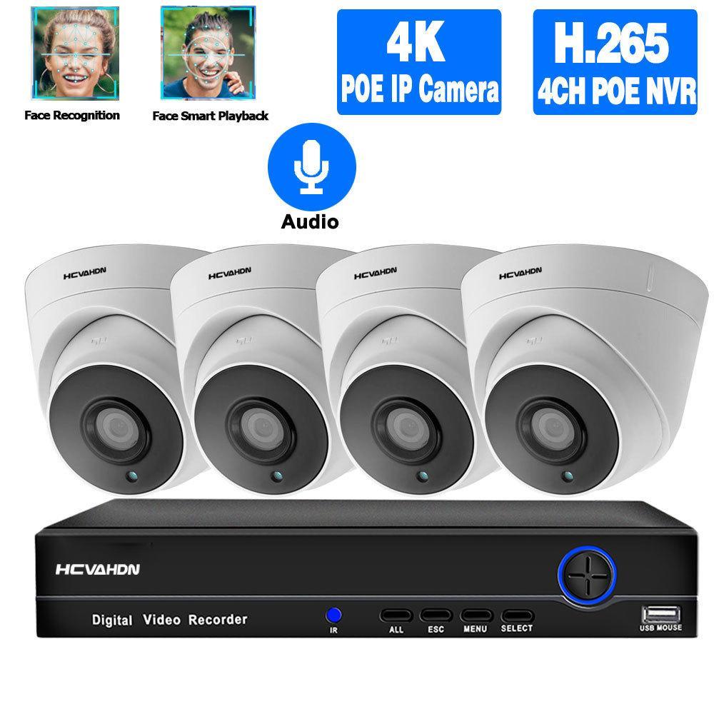 4 K NVR Kiti CCTV Kamera Güvenlik Sistemi Kiti Poe 5MP IP Kamera Seti Kapalı Ses Gece Görüş Dome Video Gözetim Sistemi XMeye LJ201209