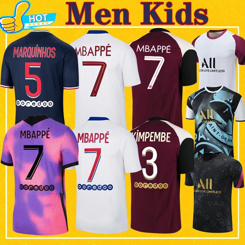 Mbappe Verratti Kean Soccer Jersey 2021 دي ماريا Kimpembe Marquinhos Icardi Pre-Match قميص كرة القدم 20 21 رجلا + أطفال كيت