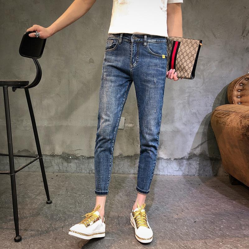 Atacado 2020 homens adolescente jeans da moda pés cara espiritual bonitos calças comprimento do tornozelo marca moda lápis social, as pessoas