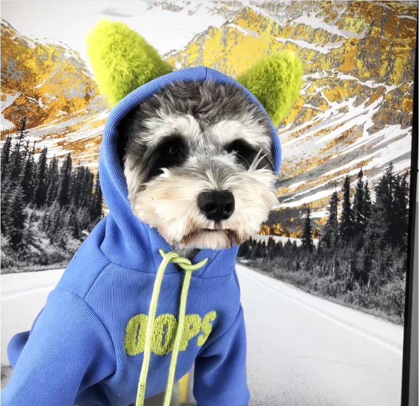 Hund Pullover Mode blau Haustier Freizeitkleidung Kleidung Mode Pullover Mantel schnauzer Bulldog Kleidung Verkauf