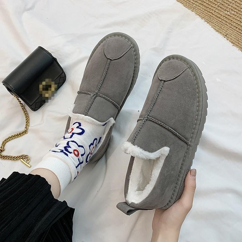 EOEODOIT 2020 Yeni Kış Pamuk Ayakkabı Erkekler Kadınlar Düz Topuk Yuvarlak Ayak Peluş Kar Boot Ayakkabı Artı Boyutu 44 Anti Skid1