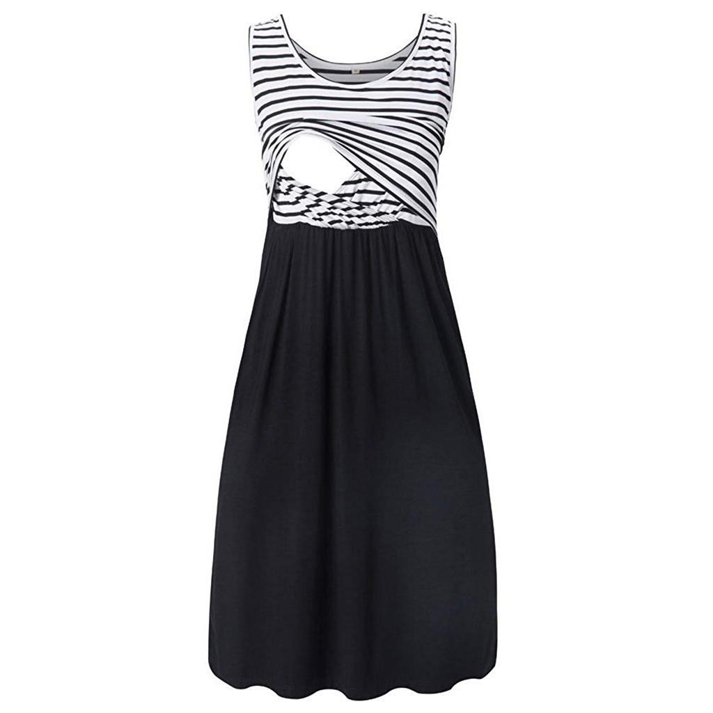 Maternity Dresses Women Summer Casual Sleeveless Pregnant Maternity Stripe Tunic Breastfeeding Dress Pregnancy Clothes Jan9 LJ201120