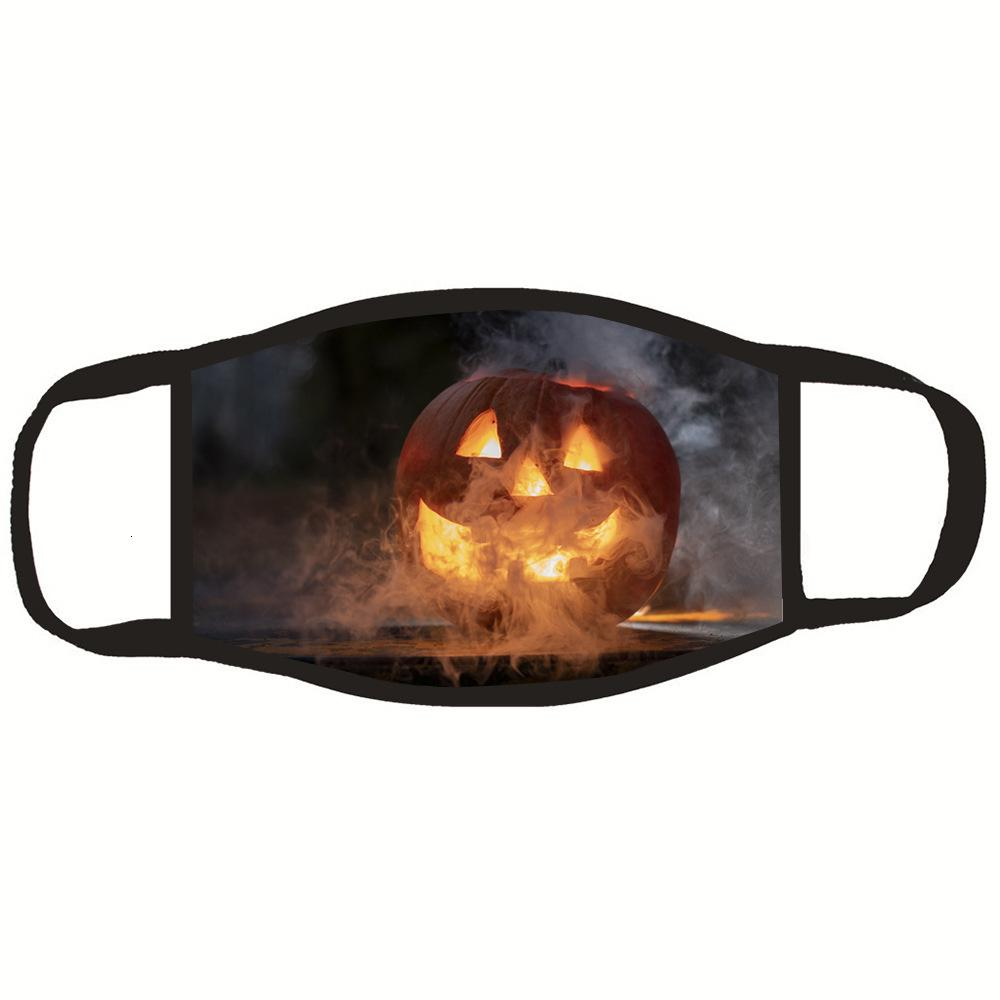 Patrón de Halloween Tema de impresión a prueba de polvo de calabaza sobre la oreja máscara de tela de algodón lavable Caracterizar Decoración