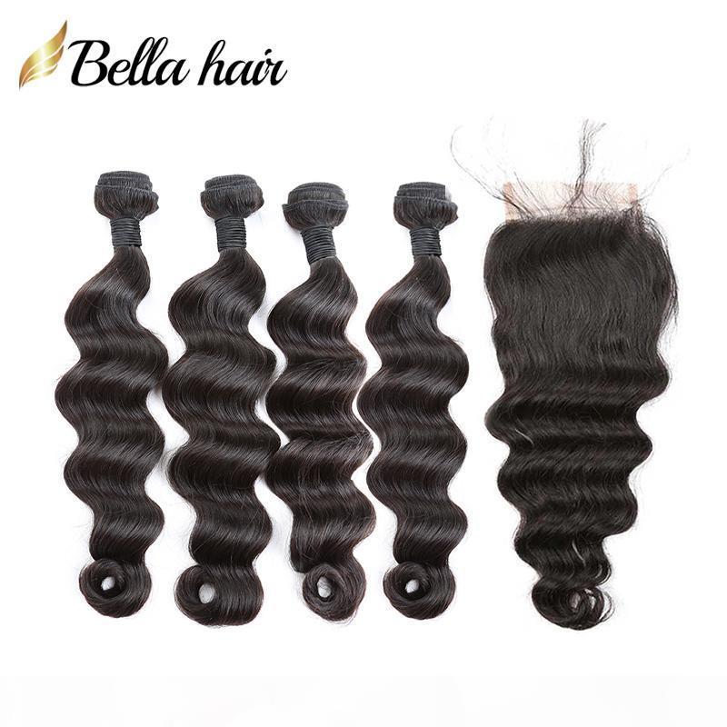 100% Menschenhaar-Bundles mit Closure brasilianischem Jungfrau-Haare losen tiefen Haar-Verlängerungen 4 Bundles mit Spitze Closures 4x4 Gratis Teil Bellahair