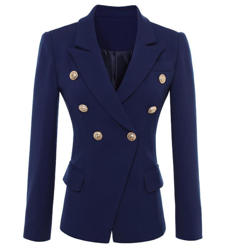 Plus Größe 2XL Neue Mode Herbst Blazer Jacke Frauen Gold Knöpfe Doppelrei Breasted Office Lady Kleine Anzug