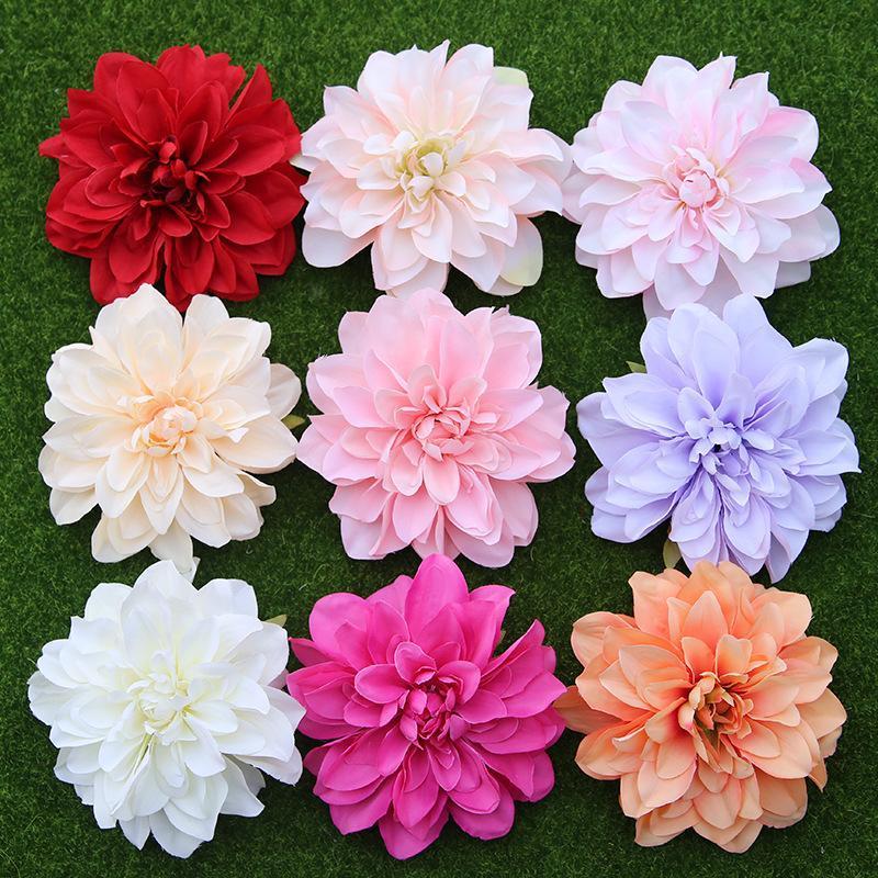 10pcs / lot big artificiel dahlia fleur tête 14cm dia fleur de soie fleurs fleurs mur de diy flores fête maison maison décoratif