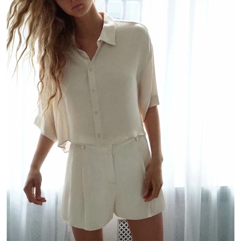 Yumuşak kısa gömlek saten akan yeni yaz giysileri kadın iki parçalı set Parlak bermuda şort geniş bacak X0923 gevşek üstleri