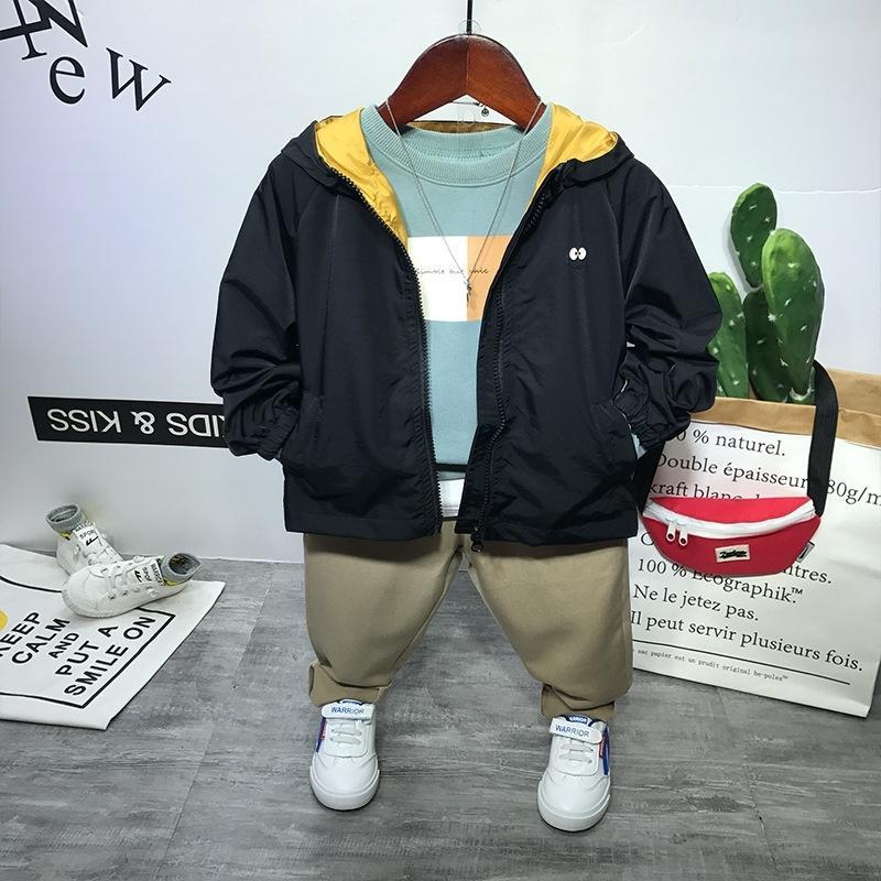 WLG Boys Boutique Outfits Детская одежда набор весна черный зеленый куртка синий толстовка и брюки набор детские мода одежда для 2-6T T200414
