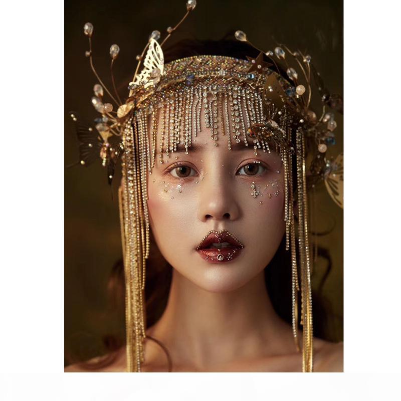 Moda Golden Head Band Fairy Butterfly Tocado Pearl Bead Cadena Tassels Modelo Show Studio Foto Disparo Accesorios de decoración