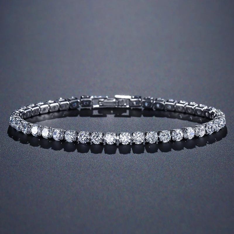 2021 elegante sólido 925 plata esterlina cz brazaletes de tenis brazaletes para las mujeres cadenas de boda moda cristal joyería regalo de fiesta de las señoras al7425