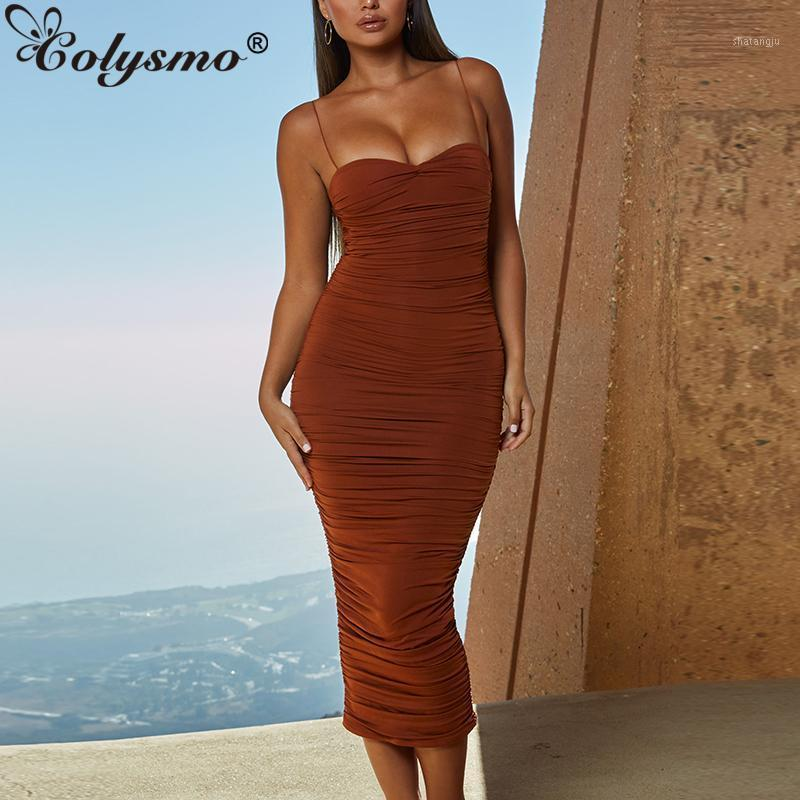 Colysmo camadas duplas verão vestido mulheres vestido longo ruched bodycon vestidos mulher festa noite senhoras elegante midi 2020 new1