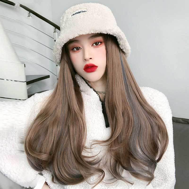 2021 Nouvelle perruque d'extension Hat Synthetic Hat Wig Extension pour femme Mode Wonder Winter