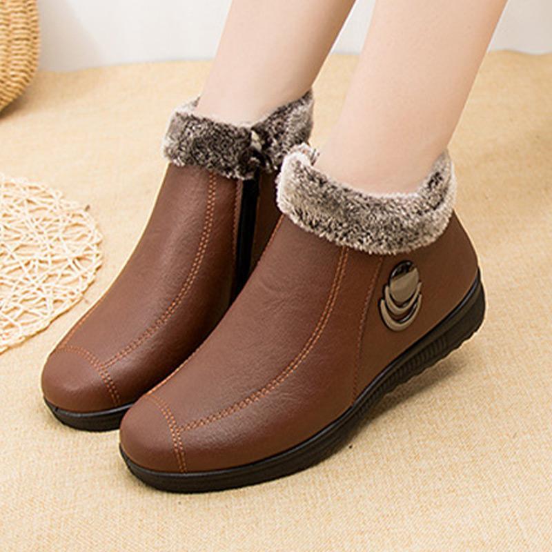 Warm Frauen Plüsch-Schnee-Stiefel Damen-Beleg auf Nähen Short Plüsch Nicht Beleg auf Shallow Solide Mom Schuhe Comfort Outdoor-Plateaustiefel