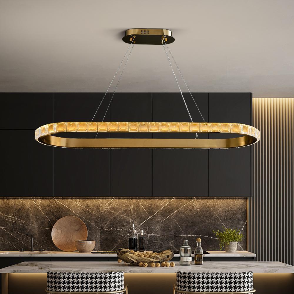 Nuova illuminazione lampadario moderno per sala da pranzo in cristallo ovale in acciaio inox design orafo lampade cucina di lusso dell'isola hanglamp