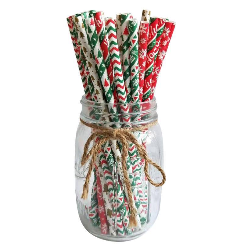 Рождество Одноразовые Straws 25pcs / серия сплавляться бумаги Творческое Рождество для вечеринок Свадебный реквизит Банкет бумаги соломинки XD24037