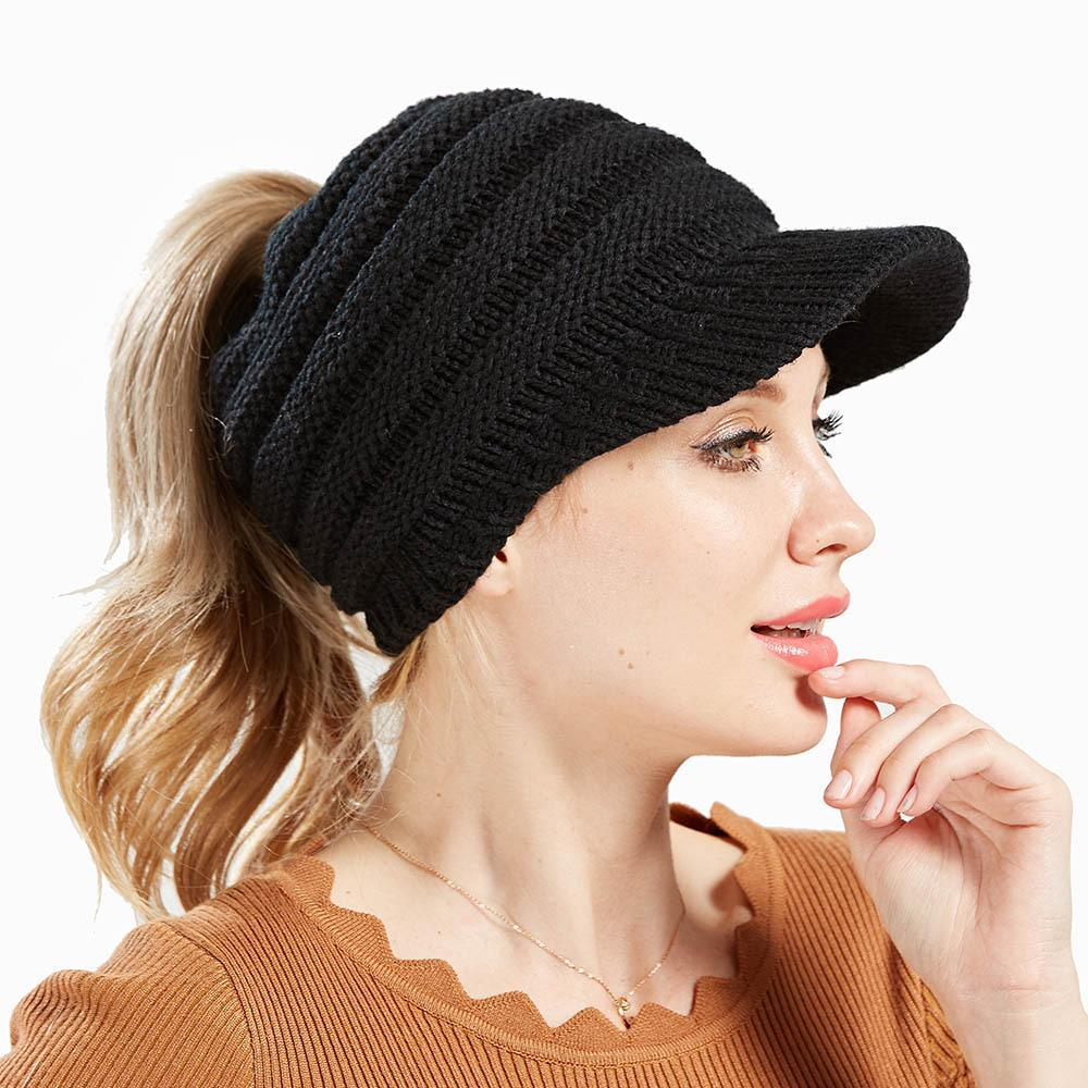 New ladies knitted baseball cap open ponytail hat men and women ski sports cap GD1189