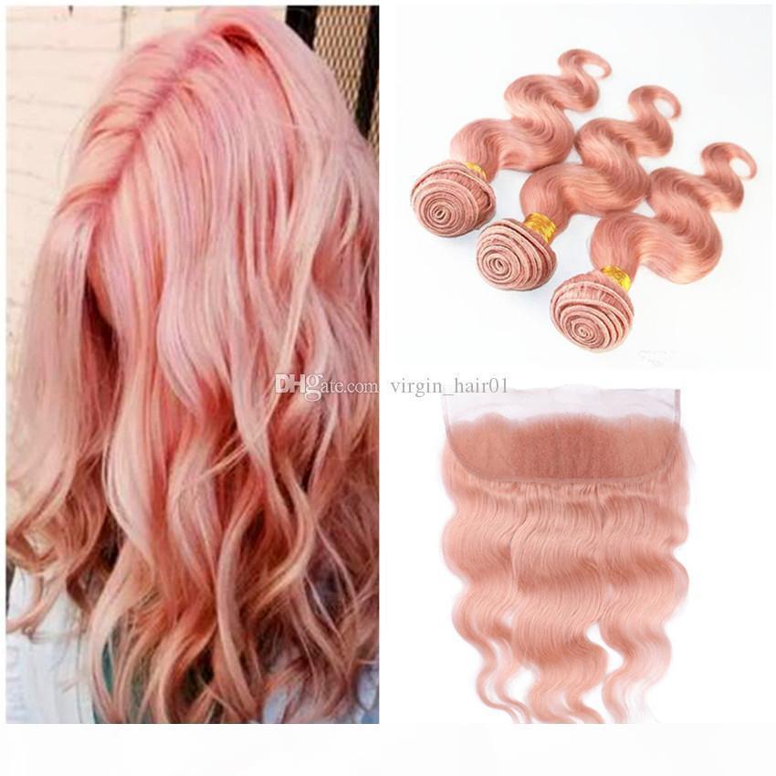 Розовое золото Русские волосы девственницы Weaves с фронтальным закрытием 3 пучка с 13x4 кружевной лобной волной тела человека с свободной частью Frontal