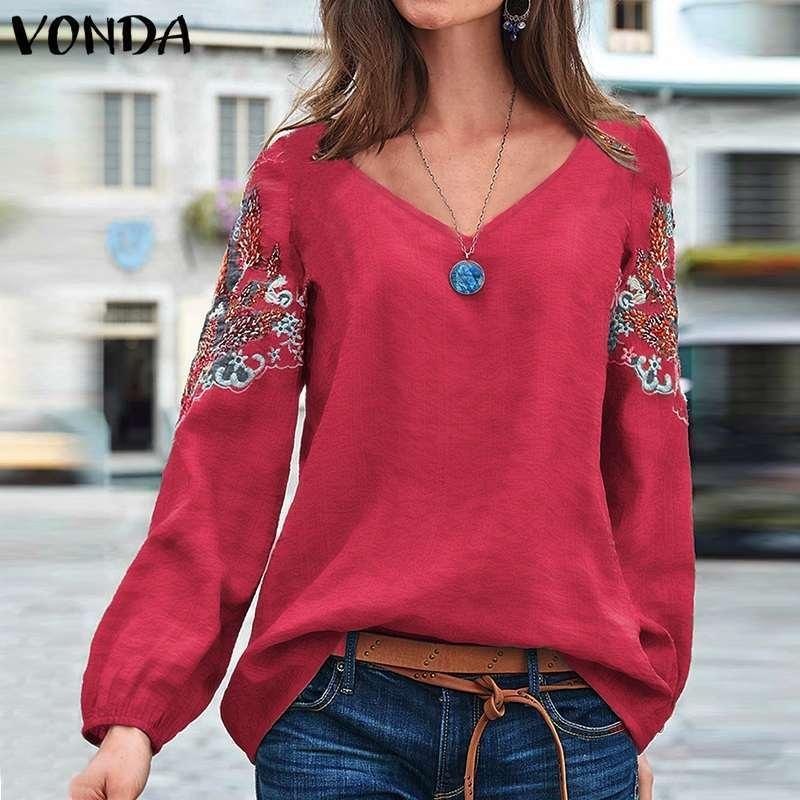 VONDA Embroidered Blouse Women Cotton Vintage Office Shirts Beach Printed Tops Bohemian Plus Size Tunic 2019 Casual Loose Blusas T200321