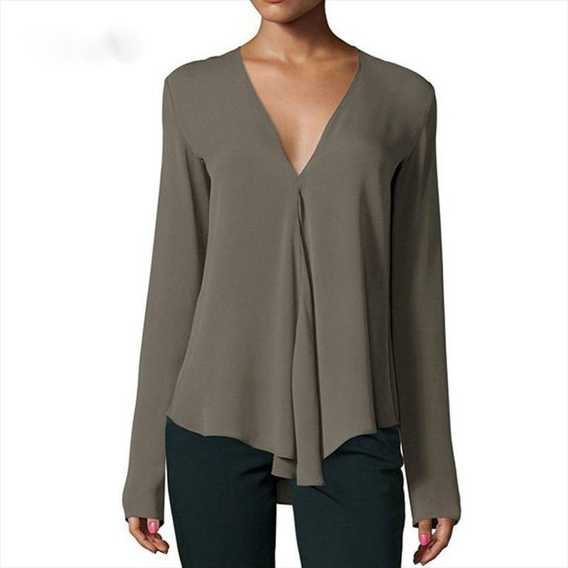 Осень Урожай Женщины шифон блузка рубашка V шеи длинным рукавом Женский мундир Повседневный Плюс Размер Блуза Кимоно Mujer