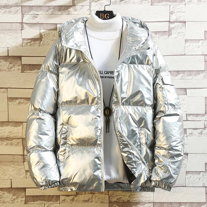 Down Jacket inverno Argento lucido 2020 donne / Nero / Oro / Blu Plus Size Parka con cappuccio Outwear giù imbottito cappotti femminile