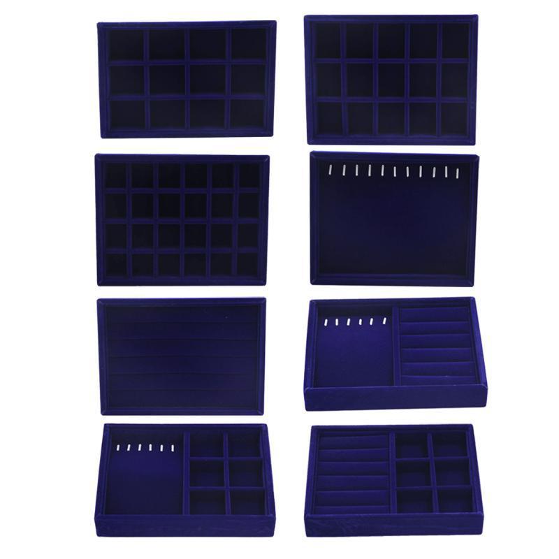 Ювелирный магазин Dark Blue Velvet дисплея ювелирных изделий Tray Box для Exhibit браслет кольцо Брелки
