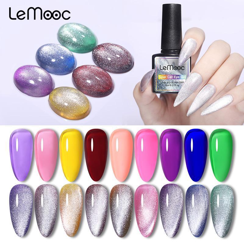 LEMOOC 8ML Magnetic Spar Cat Eye Gel Polish Funkelnde Nagellack Transparente Gelee-UV-Gel-Lack Lack Base Top Coat