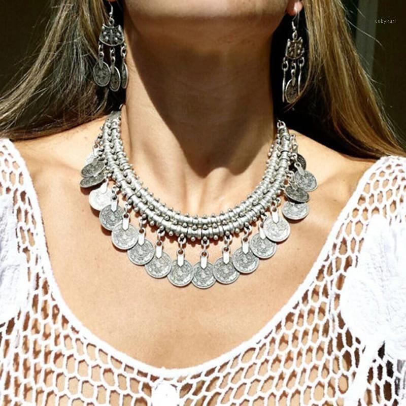 Vintage Boho Women Choker Collana Collana Collana Catena Collana Collana con pendente per le donne WeeDing Party Jewelry Gifts1