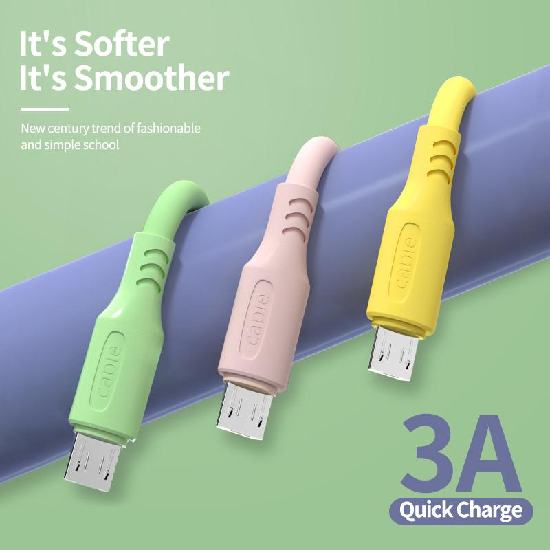 Soft Liquid Silicone Phone Cables 3A Micro USB Type C For Samsung S10 S20 Huawei Redmi Moblie Charger TypeC Cable Cord