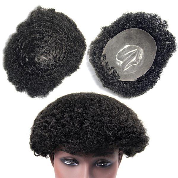 Super dünne Haut Männer Perücken menschliche Haarstücke Toupee, Haarstück für schwarze Männer, schwarze Herren Toupee Haarperücken für Männer