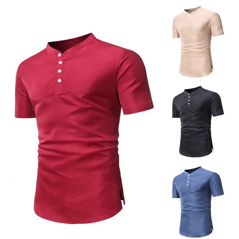T-shirt de couleur massif de colle à manches courtes à manches courtes pour hommes de 2020