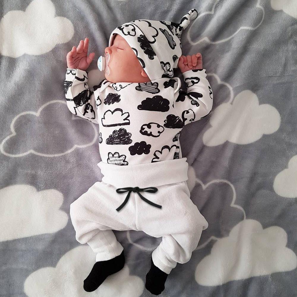 Nouveau-né Nuage Imprimer Bébé Garçons Vêtements de filles 3Pcs Ensemble T-shirt à manches longues + pantalon décontracté + chapeau bébé bébé Toddler Vêtements 201116
