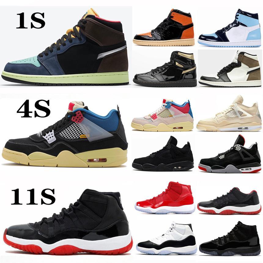 Jumpman 1 1s Hoch OG Black Cat 4 4s Bred 11 11s Basketball-Schuhe Concord 45 UNC Bio Hack Herren-Sport-Trainer-Turnschuhe