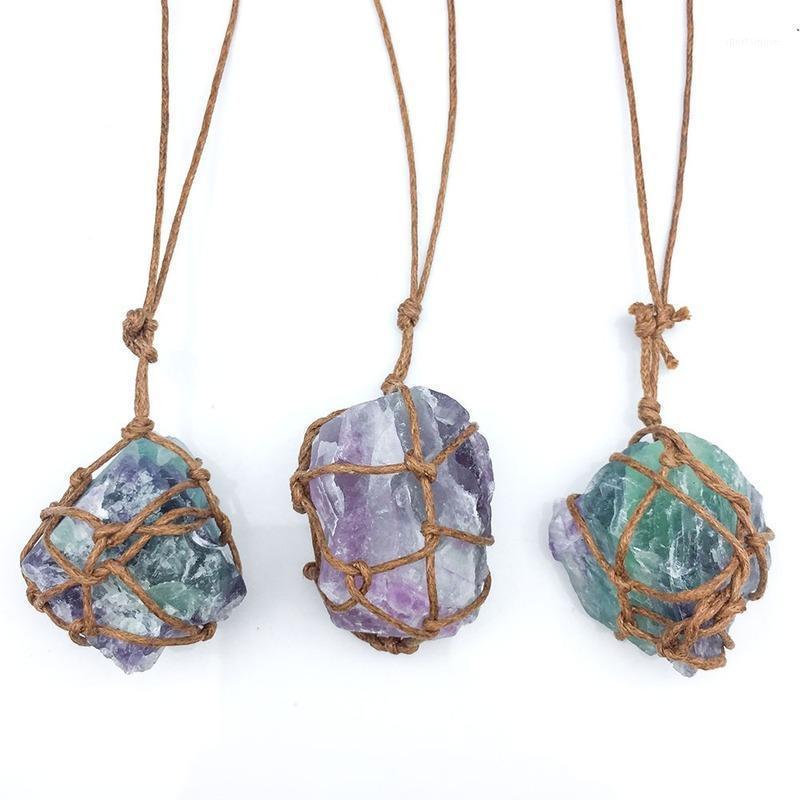 Collar de fluorito Colgante de piedra natural para mujeres Hombres Hecho a mano Chakra irregular Péndula Reiki Joyería Retro Envuelto Grandes Colgantes 1