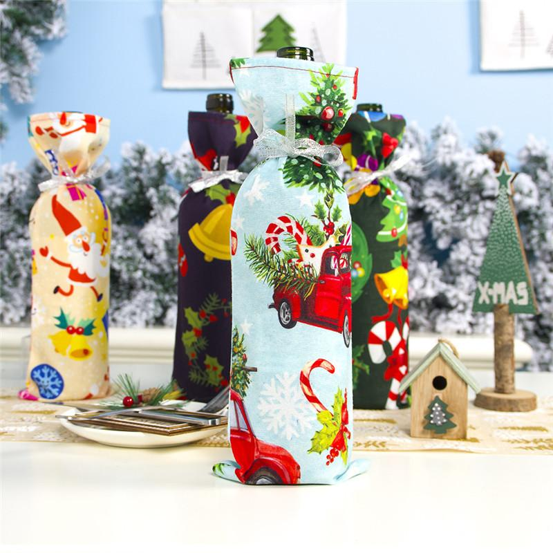 Bottle Cover Polyester Cotton Flannel Snowman Santa Deer Bell Printed Christmas Wine Case Xmas Kitchen Decor DHA1094