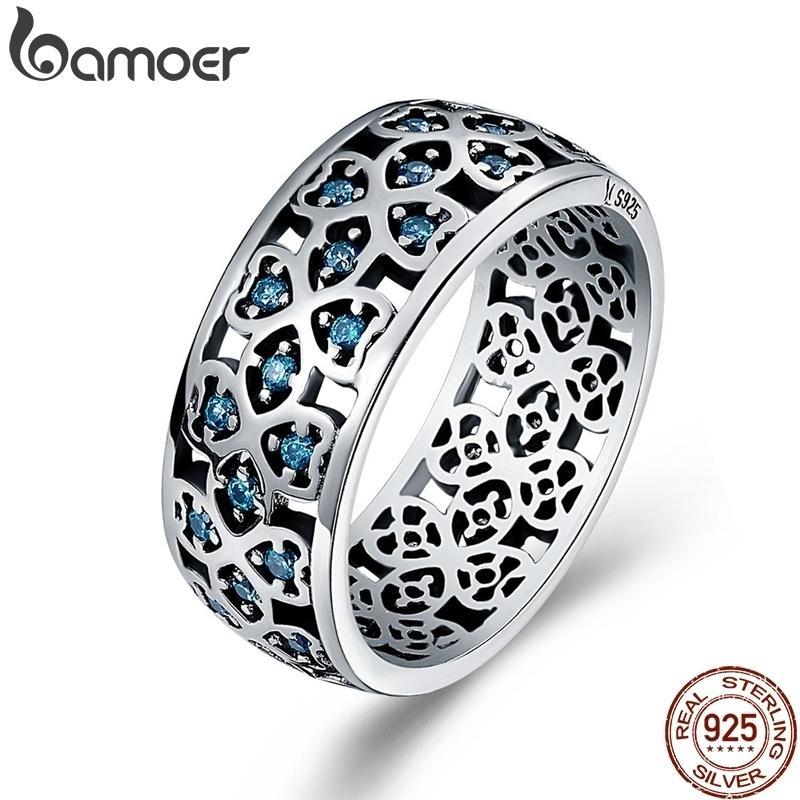 Bamoer 100% 925 Стерлинговые лепестки любви сладкий клевер синий CZ кольца для женщин вовлечение ювелирных изделий S925 подарок LJ200831