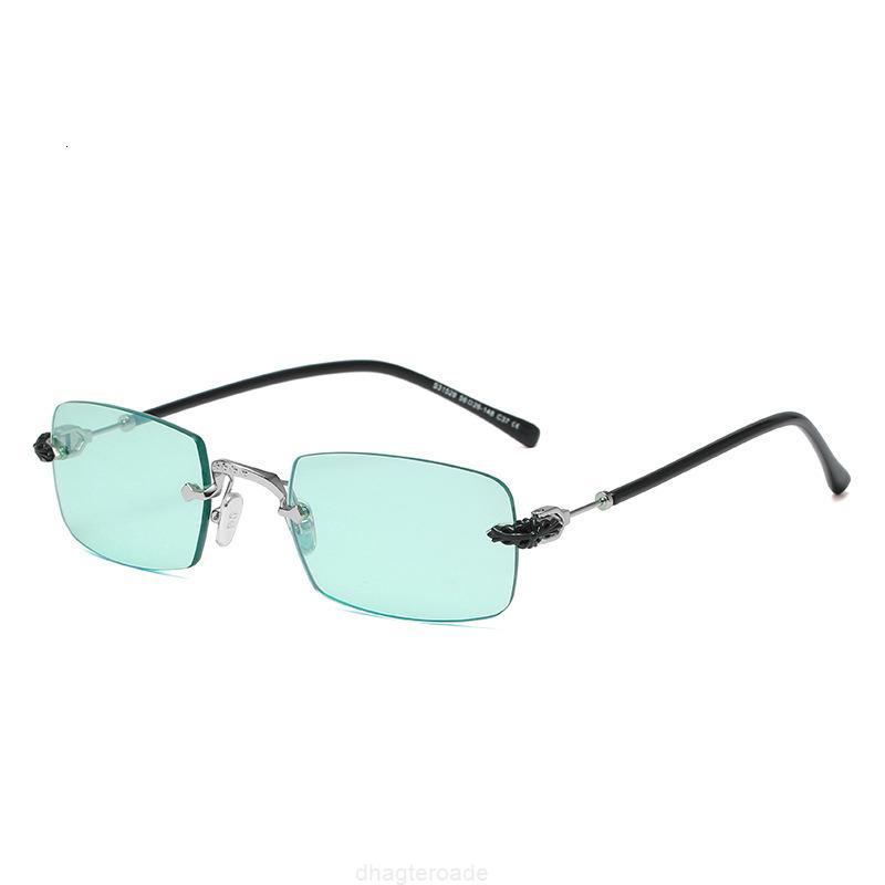 S31528 Quadro Sem Moldouro Pequenos Homens Quadrados Metal Óculos de Sol Mulheres