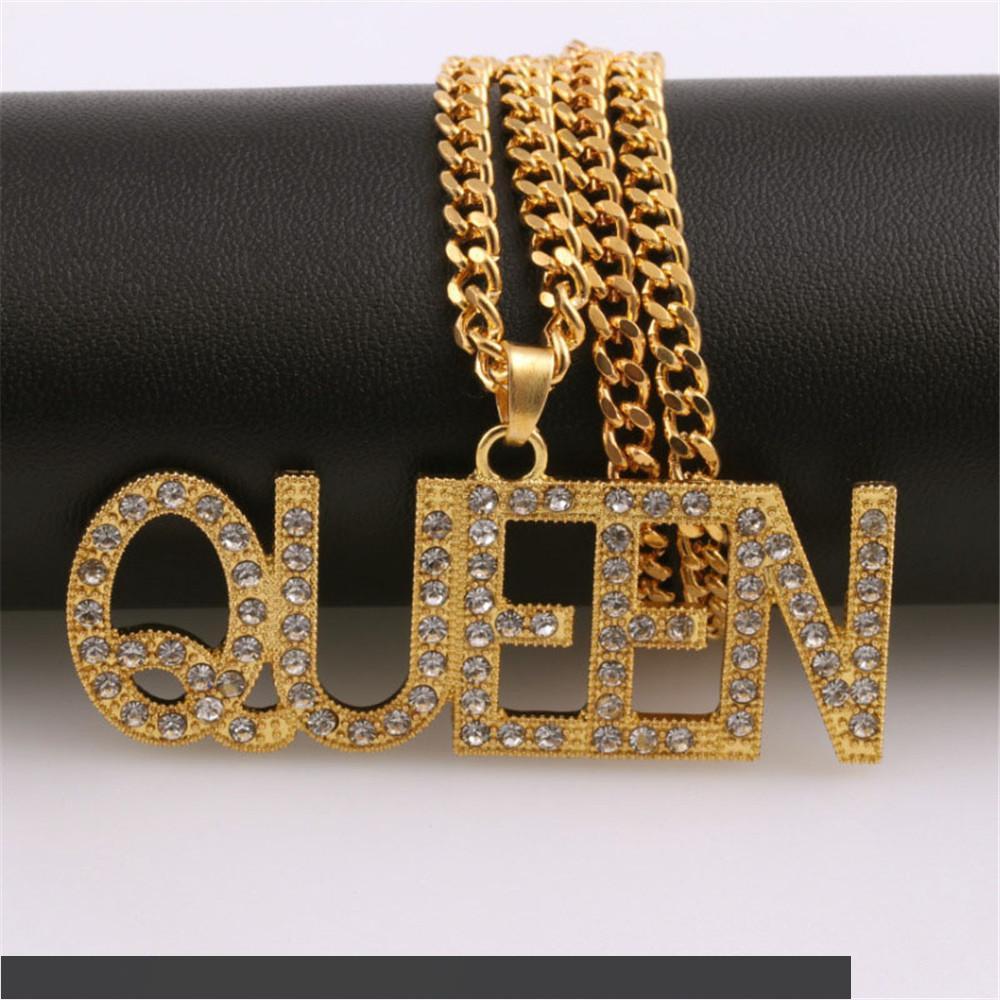 Moda Kadın Mektup Kraliçe Kolye Kolye Kadın Hip Hop Takı Kişiselleştirilmiş Uzun Zincir Altın Kolye Bayanlar Hediyeler