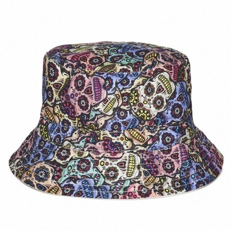 Art und Weise Sommer Harajuku Flach Bucket Hats 3D Printed Mexikanische Schädel-Strand-Hut Hip Hop Tartan Cops Frauen Mädchen U15V #